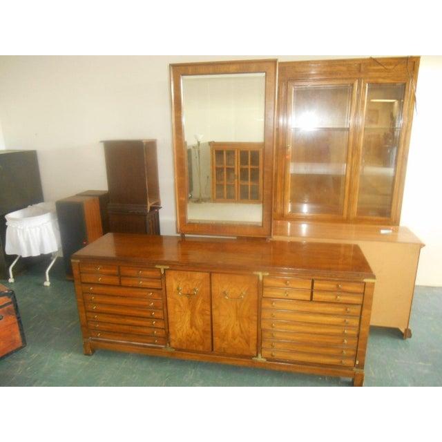 Lane Furniture Burl Maple Triple Dresser & Mirror - Image 3 of 8