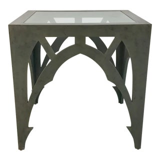 Currey & Co. Gray Esteban Side Table For Sale
