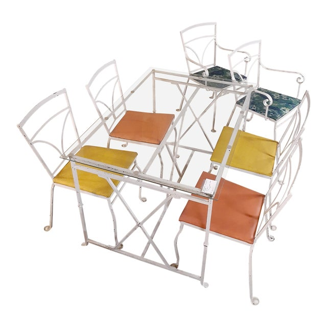 Vintage MCM Salterini Style Seasonal Outdoor Glass Top Table Dining Set - 7 Pieces For Sale