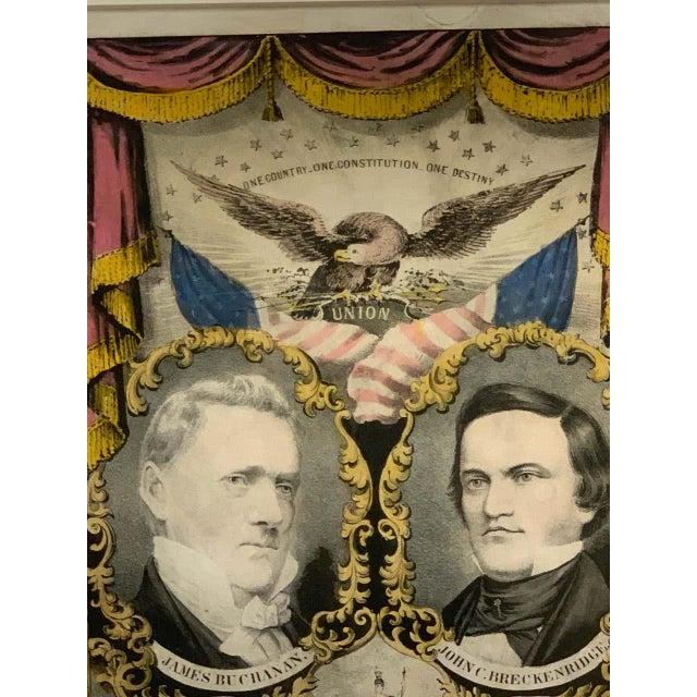 Black 1856 N. Currier Buchanan & Breckenridge Grand National Democratic Banner For Sale - Image 8 of 11