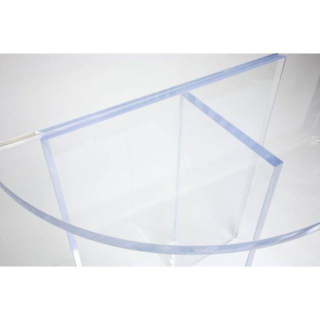 Acrylic Custom Designed Charles Hollis Jones Style Demilune Clear Lucite Console - Showroom Sample For Sale - Image 7 of 12