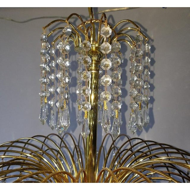 Mid-Century Crystal & Brass Plated Spider Chandelier - Image 5 of 11