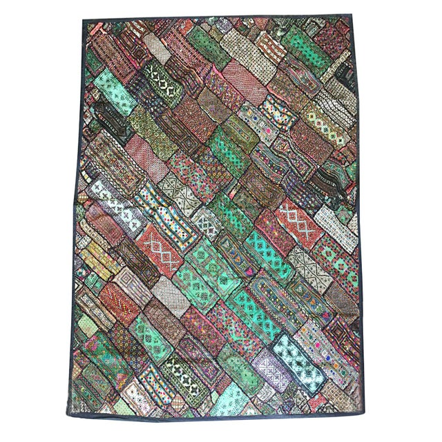 1980s Antique Green Original Kutch Tapestry Hand Crafted Rug Wall Hanging Decor For Sale - Image 5 of 5