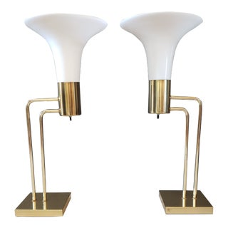 Mid-Century Art Deco Frosted Glass Geometric Brass Torchiere Table Lamps - a Pair For Sale