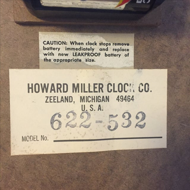 MCM Howard Miller Wall Clock by George Nelson - Image 7 of 7