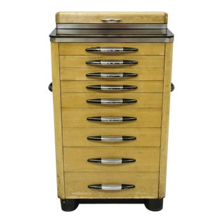 Antique Art Deco Wood & Metal Dental Cabinet For Sale