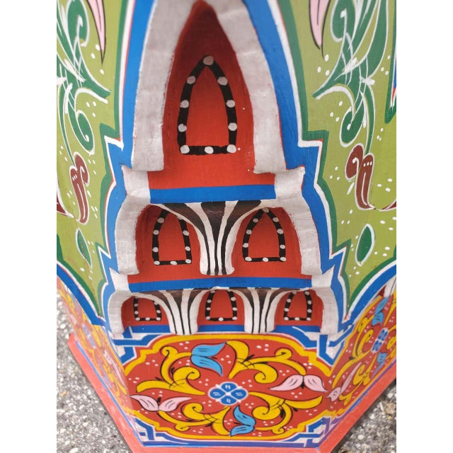 Moroccan Lg Ceuta 4 Painted and Carved Star Table, Multi-Color For Sale In Orlando - Image 6 of 8
