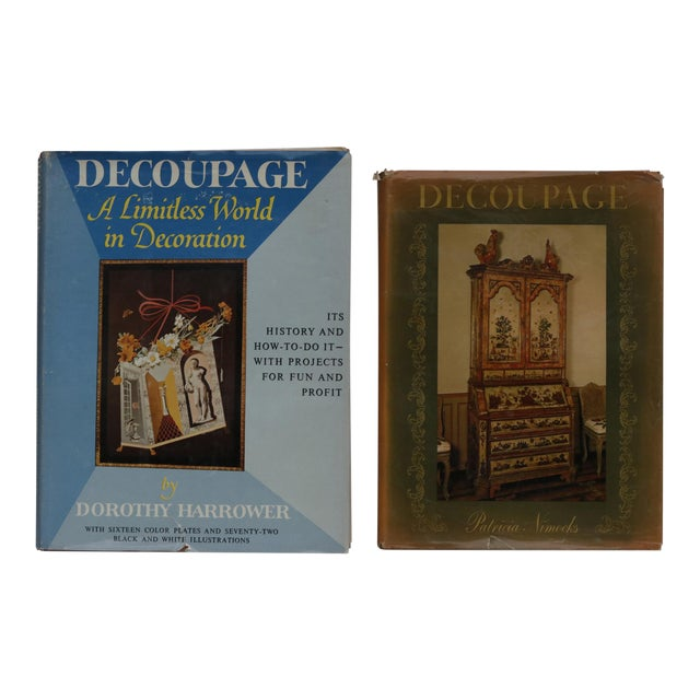 1960's Decoupage Hardcover Books, Set of 2 For Sale