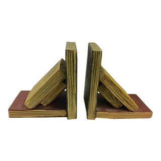 Vintage Wood Book Shape Bookends - A Pair