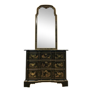 Drexel Heritage Et Cetera Chinoiserie Hand Painted Dresser and Mirror For Sale