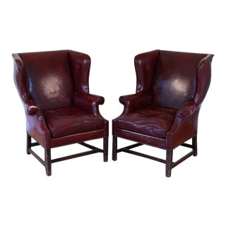 Chippendale Style Leather Wingback Chairs - a Pair