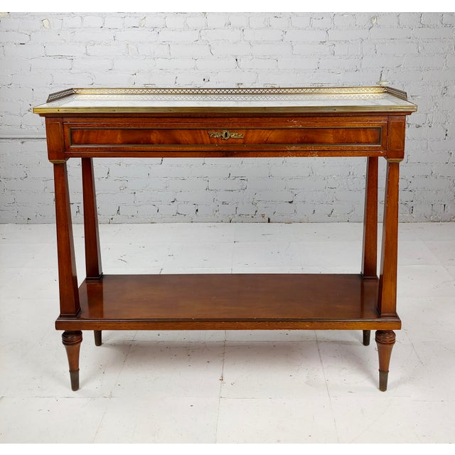 French French Style Vintage Marble Top Credenza Console Table For Sale - Image 3 of 8