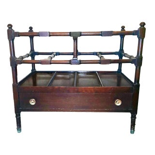 1920s Vintage Chippendale Style Mahogany Canterbury Magazine Rack For Sale