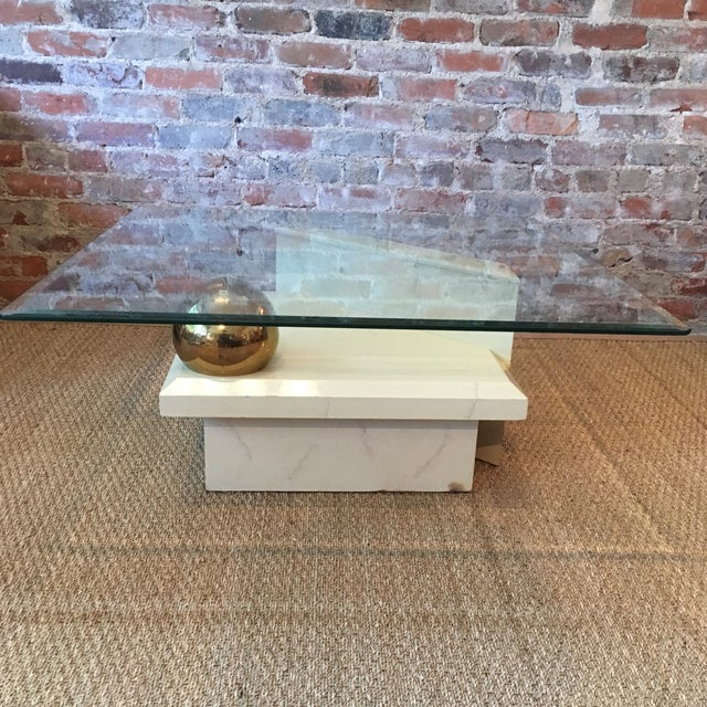 Faux Stone Coffee Table: Vintage Faux Stone Coffee Table