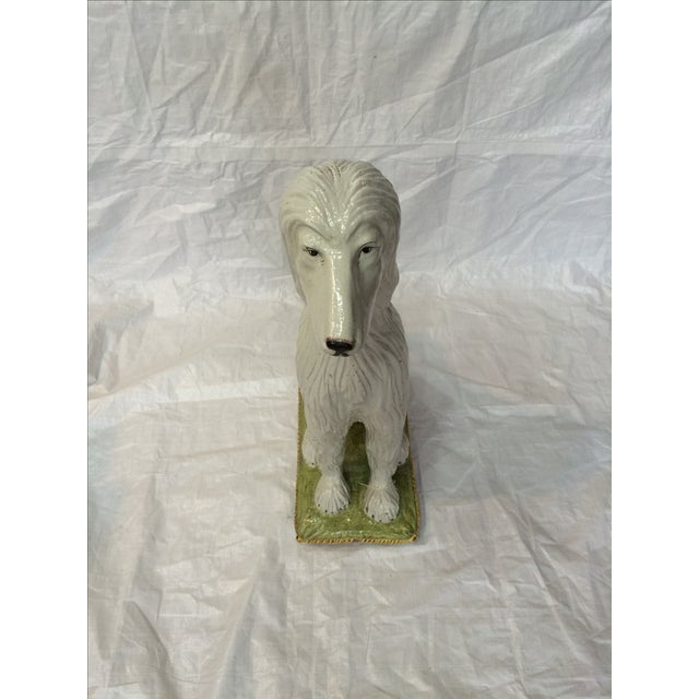 Italian Ceramic Afghan Hound Statue For Sale - Image 4 of 11