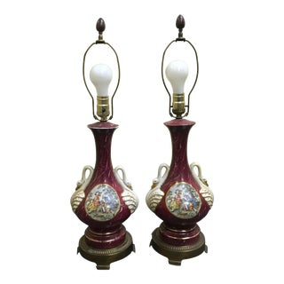 Sevres Style Victorian Depiction and Swan Handles Dark Rose Pink Urn Lamps - a Pair