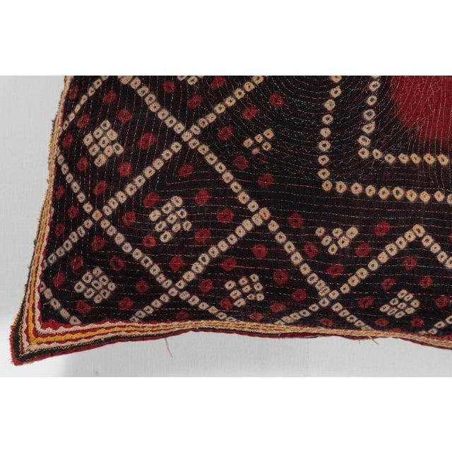 Folk Art Indian Gudjarati Applique Pillow For Sale - Image 3 of 5