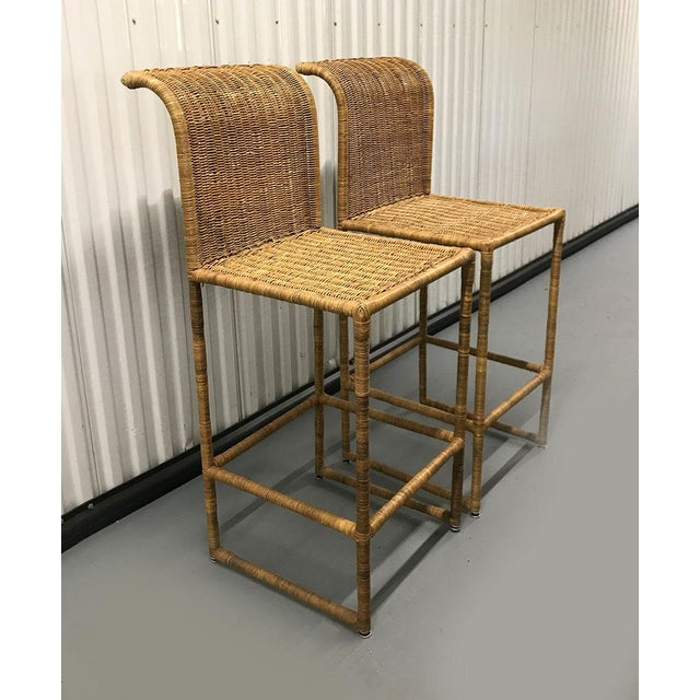 Mid-Century Modern Mid-Century Modern Rattan Bar Stools - a Pair For Sale - Image 3 of 13