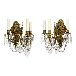 Belle Epoque Brass & Crystal Sconces - a Pair For Sale