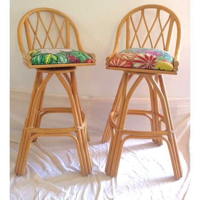 Bamboo Swivel Bar Stools - A Pair - Image 3 of 7