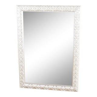 Distressed Scalloped Silver Framed Mirror For Sale