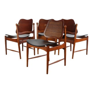 Set of 4 Arne Vodder Sculptural Chairs w/ a Cane Back and Brass Detailing, Denmark For Sale