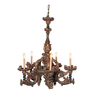 Italian Carved Wood Chandelier For Sale