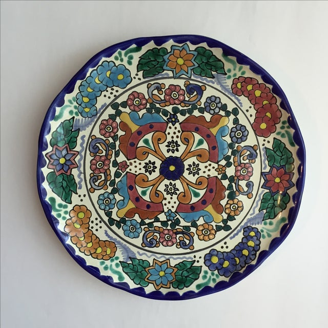 Green Mexican Pottery Platter For Sale - Image 8 of 9