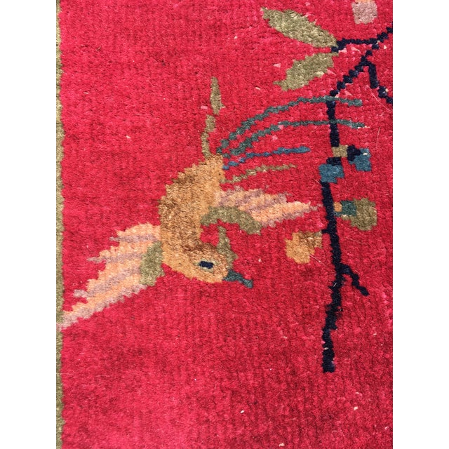 Chinese Art Deco Nichols Red and Green Rug - 2′11″ × 4′11″ For Sale - Image 9 of 12