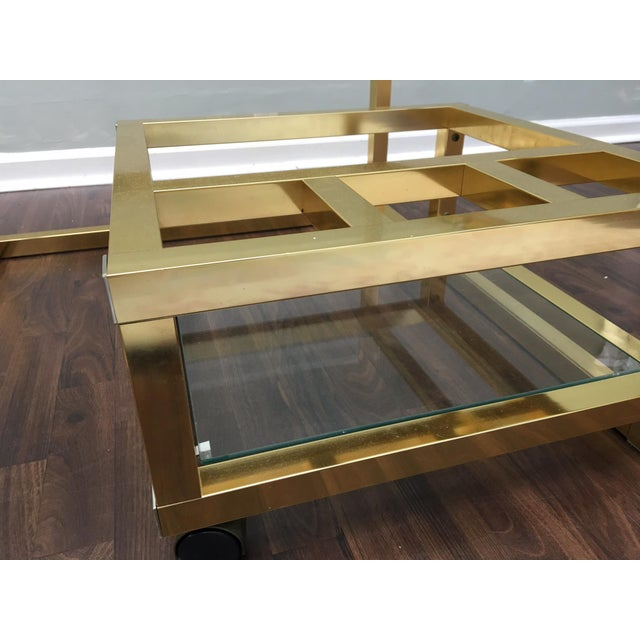 Aluminum Cubist Brass Swivel Coffee Table with Wine Rack After Milo Baughman For Sale - Image 7 of 7