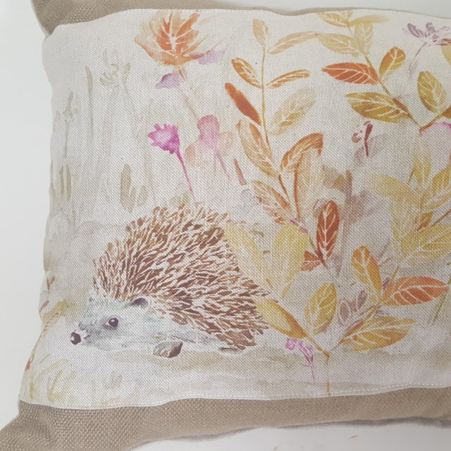 Contemporary Hedgehog Accent Linen Decorative Pillow For Sale - Image 4 of 7