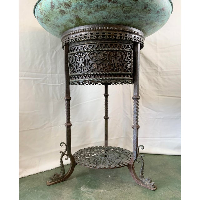 1920s Ornate Indoor Fountain With Heavy Iron and Bronze Base For Sale - Image 5 of 12