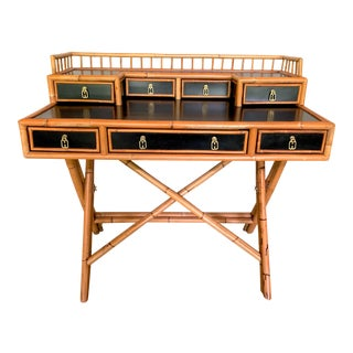 Campaign Bamboo and Lacquer Desk by E. Murio For Sale