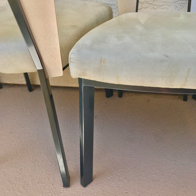 Modern Curved Aluminum & Suede Dining Chairs - Set of 4 - Image 6 of 7