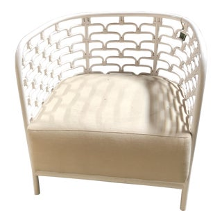 Sydney Mod Steps White Lounge Chair For Sale
