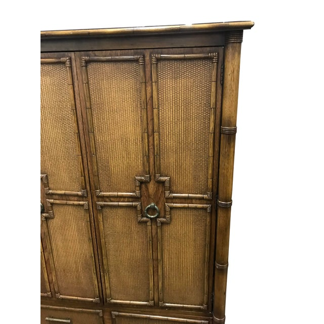 1960s Vintage Faux Bamboo and Rattan Armoire For Sale - Image 5 of 8
