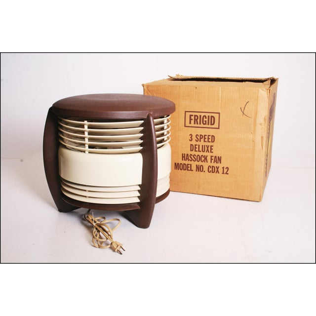 Mid Century Modern Hassock Stool Fan with Original Box For Sale - Image 9 of 11