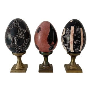 Vintage Hand Painted Decorative Eggs on Brass Stands - Set of 3 For Sale