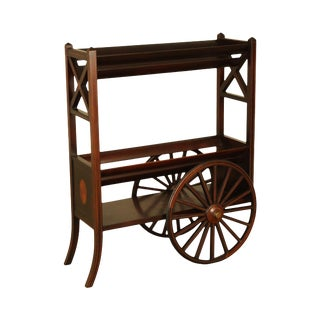 Edwardian Antique Mahogany Inlaid Bookstand Trolly For Sale