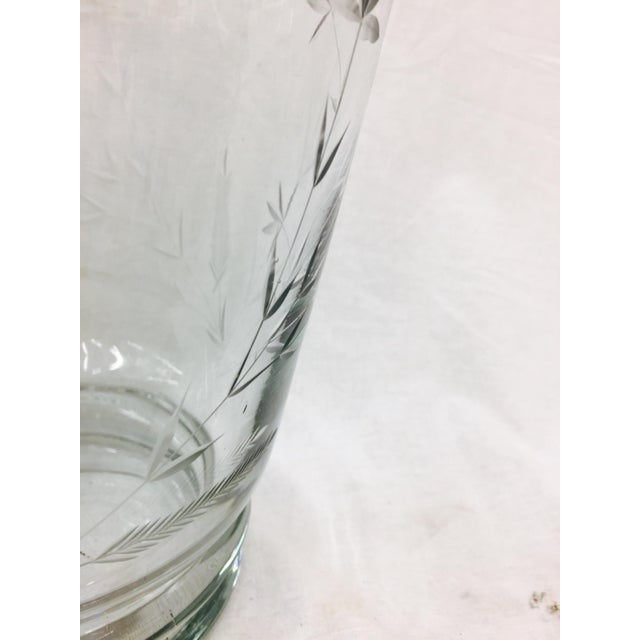 Transparent Large Etched Glass Vase For Sale - Image 8 of 10