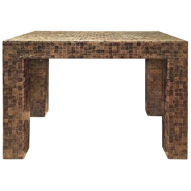 1970s Rectangular Lacquered Faux Snake Skin Checkerboard Side Table For Sale