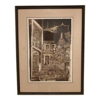 1970s Vintage North Beach Etching by Partee/John Irwin Friedman