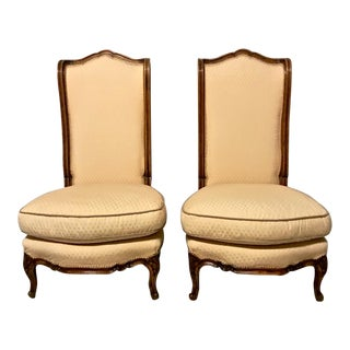 Pair Louis XV-Stye Slipper Chairs or Chauffeuses For Sale