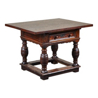 18th Century Danish Baroque Table With Turned Legs For Sale