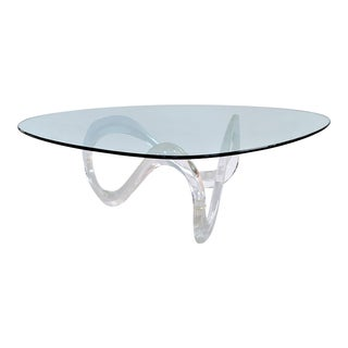 1970s Vintage Lucite Infinity Coffee Table Charles Hollis Jones Style For Sale