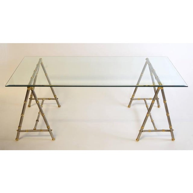 Hollywood Regency Maison Jansen Style Steel and Brass Coffee Table For Sale - Image 3 of 6