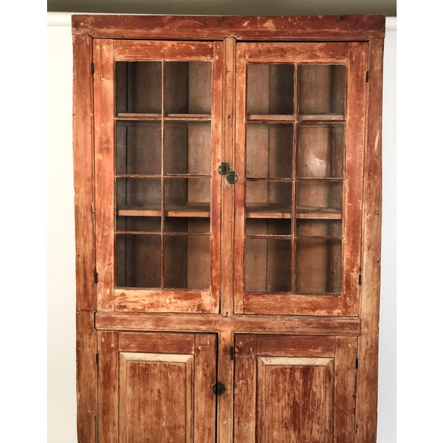 Brown 19th Century New England Country Corner Cupboard C. 1840 For Sale - Image 8 of 13