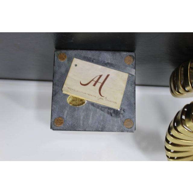 Mid-Century Modern Jere Brass Ram's Horns Sculpture Marble Signed Dated, 1983 For Sale - Image 10 of 11