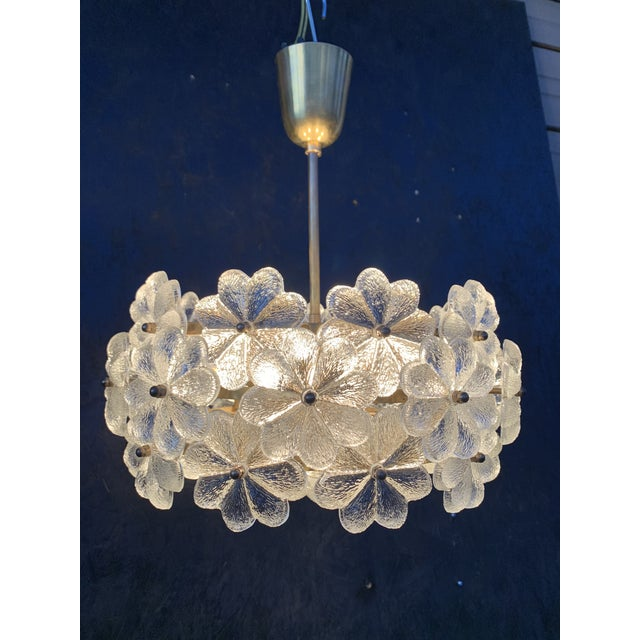 Small Ernst Palme Floral Glass Chandelier For Sale - Image 10 of 10