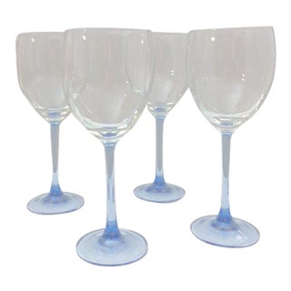 Vintage Azure Blue Luminarc France Cristal d'Arques Wine/Water Goblets - Set of 4 For Sale